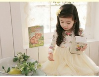 free shipping ! 2013 spring new design childrens girls fashion print dress long sleeve princess dress girl&#39;s  lace flower dress.