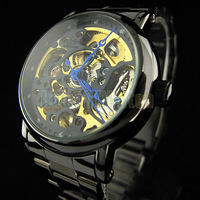 White partially hollow transparent dial Stainless steel band Automatic Mechanical Watch 7031