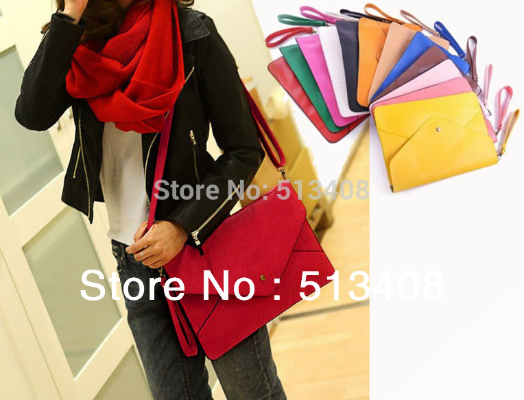 Factory price dropshipping Envelope Handbag Stylish Ladies' Totes Design Fashion Shoulder Bag Envelope Bag 12colors in stock(China (Mainland))