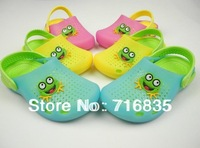 Wholesale 12 pairs/lot  children Garden  frog crystal jelly slippers sandals rubber garden clogs shoes for boys and girls T25