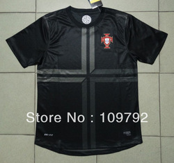 Hot sell ! 13/14 best thai Quality Portugal away black soccer jersey soccer Football uniforms Sports Shirt(China (Mainland))