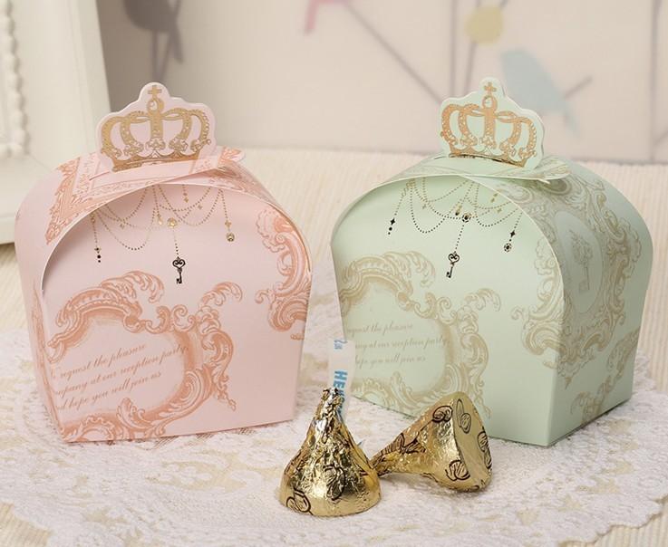 Pink Royal Crown Baby shower favor box DIY Paper bag 100 pcs/lot Free Shipping Gift Boxes(China (Mainland))
