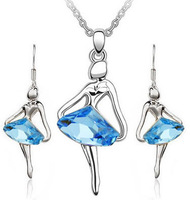 fashion blue ballet girl Angel Earrings Necklace jewelry sets Austria crystal 18k gold plated Free shipping wholesale