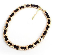 Min Order $10. Free shipping 2014 hot selling channel style ribbon silk short gold plated chains necklace jewelry