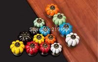 40mm Colorful Pumpkin Cabinet Ceramic Dresser Knobs And Handles Drawer Pulls Kitchen Furniture Door Hardware Puxadores Ceramica