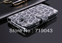 High Quality Leopard Skin PU Leather Case For Samsung Galaxy Premier I9260 Wallet Pouch With Card Holder Free Ship