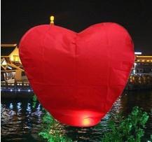 Wholesale Red Heart Chinese Fire Sky Lanterns Wishing Balloon Birthday Christmas weeding 10pcs/package(China (Mainland))
