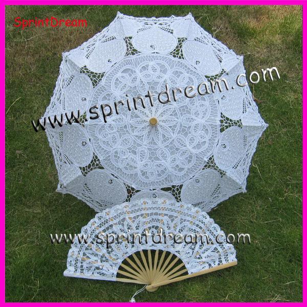 Grátis frete 100% algodão artesanato guarda sol algodão guarda-chuva battenburg lace umbrella com fã de algodão(China (Mainland))