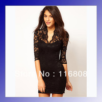 Best selling branded fashion clothes women 2013 black and white lace dress free shipping