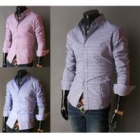 Free Shipping 2014 Mens Slim fit Unique neckline stylish Dress long Sleeve Shirts Mens dress shirts5843,size: S-XL