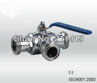 Sanitary stainless steel  three way Ball valve(weld,thread,clamp).Free shipping