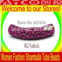 wholesale Fashion Shambhala Crystal Tube bending Jewelry Accessories Free Shipping, Shamballa beads Tube size 50x10mm