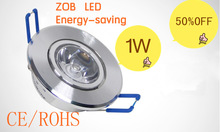 1W LED Recessed Downlight Cabinet Lamp silver shell 85-265v down light+ driver +free shipping 10pcs/lot Not Dimmable(China (Mainland))