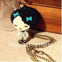 Fashion HARAJUKU doll little girl double faced mirror long necklace vintage necklace