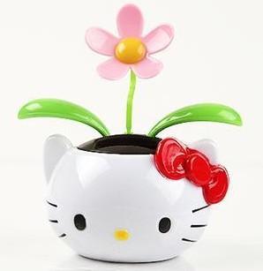 Free Shipping solar dancing flower Hello Kitty solar toys car accessories cute solar flip flap