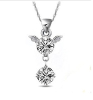 F04828-A Vintage Star Chain Necklace + Angle Love CZ diamond Pendant w/ Gift Box for Woman lady Girlfriend Best gift +Freeship