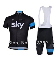 2013 newest style hot selling sky team summer short sleeve cycling jersey bicycle clothing/cycling wear suit 3D coolmax padding