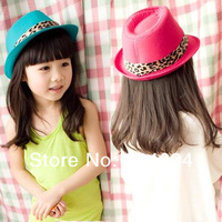 Baby Girl Fedora Hat Kid Fashion Cotton Children's Cap Hat Pink Green Solid Color With Leopard Ribbon 6pcs/lot