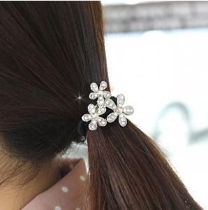 Fashion Korean Silver Snowflake Flower Elastic Hair Bands Hair Jewellery A3R15C