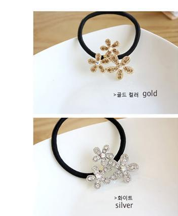 Fashion Korean Silver Snowflake Flower Elastic Hair Bands Hair Jewellery A3R15C