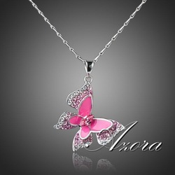 Sparkling! Platinum Plated SWA ELEMENTS Austrian Crystal Pink Butterfly Pendant Necklace FREE SHIPPING!(Azora TN0066)(China (Mainland))