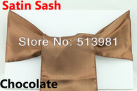"chocolate25 pcs Emerald Clover Green  6""x108"" Satin Chair Cover Sash Wedding Party Supply Decor Many Colors option ,best quality"