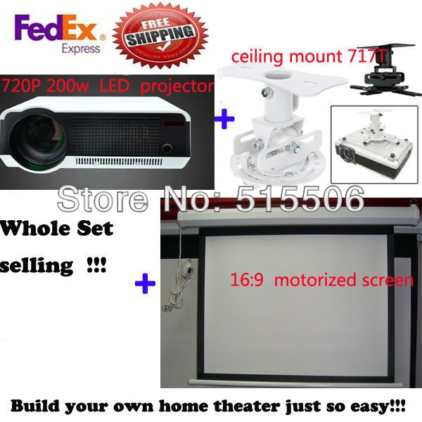 Free shipping Full hd 3d led projector + 100'' 16:9 Motorized screen with remote + Projector Ceiling mount(China (Mainland))