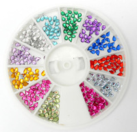 Free shipping 720pieces/wheel 12 colors/wheel Nail Art sqaure shape Rhinestone Glitter Tip Mix 5 designs Gems DIY shining nails
