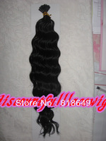 "AAAAA Brazilian Queen Hair Products:I Stick Tip 18"" #1 Deep Wavy Brazilian Virgin Human Hair Extension (1g/strand x 100)"