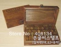 Freeshipping! 70pcs/set/ Number and Letter Wood stamp Set/Wooden Box/Multi-purpose stamp/DIY funny work/regular script,4 set