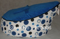 Free shipping blue dots baby seat, original doomoo seat, BEAN BAG sofa chair, newborn kid snuggle beds , NO FILLER(China (Mainland))