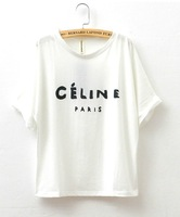 Spring 2014 New t-shirt Letters Printed Loose Batwing Sleeve Shirt Short-Sleeved T-shirt Female Flange 8986