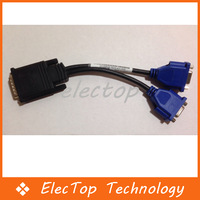 Free shipping Video Y Splitter DMS-59 to Dual 15 pin VGA Cable 50pcs/lot Wholesale
