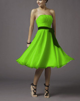 2013 LIME GREEN A-LINE CHIFFON TEA-LENGTH BRIDESMAID DRESS BRIDAL GOWNS XS S M L XL XXL 3XL
