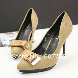 FREESHIPPING Gentlewomen princess high-heeled bow pointed single women's low-top qupid shoes B-P-0495(China (Mainland))