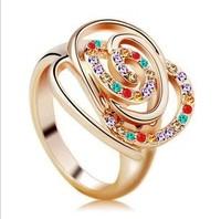 Latest new design Austrian crystal flowers female Ring