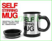 Free shippping Automatic coffee mixing cup/mug bluw stainless steel self stirring electic coffee mug 350ml Fashion creative gift