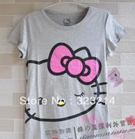 Free Shipping Cute  hello kitty cottont shirt women tops for women 2013 summer hello kitty women