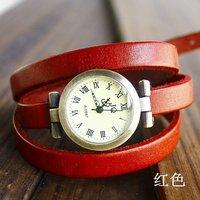 2013  wholesale vintage Genuine Cow leather fashion Wrap Women watch ladies wrist watch