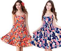 Floral dresses for women 2014 summer new arrival sleeveless beach dress ladies plus size knee length Bohemian sundresses S-XXXL