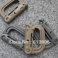 30 pcs/lot D-Ring Locking Bearing Lock Key Carabiner Molle Carabiner Buckle Black Tan Olive