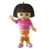 Free Shipping EVA Head Dora Mascot Costume, Dora the Explorer Mascot Costume With Fan & Helmet FT30363