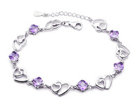 OR00461B Wedding Bracelet,Natural Amethyst,Copper Material with 3 Layer Platinum Plating,Perfect Polished