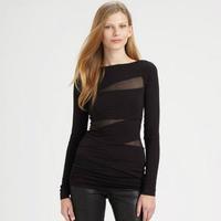 Irregular Patchwork Long Sleeve T-shirt/ Night Club Wear Women/ Sexy Tee/ Ladies' Fashion Topwear