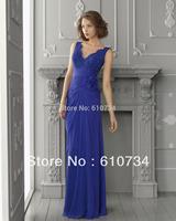 E0310 2013 New Model V Neck Chiffon Royal Blue Long Evening Dress