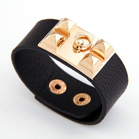 2013 Fashion designer bracelets and bangles statement punk riverts leather bracelets charm Wholesale 2pcs/lot