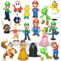 "Retail Free Shipping Plastic Super Mario Bros 1-2.5"" 18PCS/SET Action figures Toys PVC Doll Gifts"