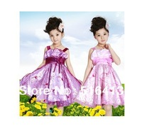 free shipping new girls dress princess brand party wear 2014 hot selling fashion item Embroidery flower girl dress color 4 size