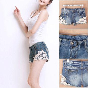 Sexy  Fashion Ladies Women's  Lace Flower Skinny Jean Hole  Rivet Shorts Cut-Off Denim Short Trouser Pants