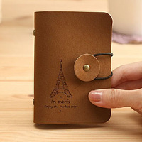 Wholesale romantic eiffel tower fashion vintage women's card holder girls suede leather bank card holder business card holder